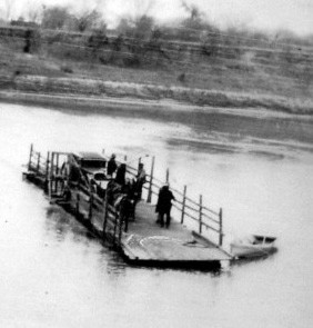Ferry crossing the Brazos at San Felipe