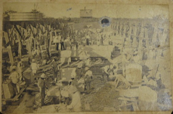 Prisoners cutting stone for the Capital Building in Austin